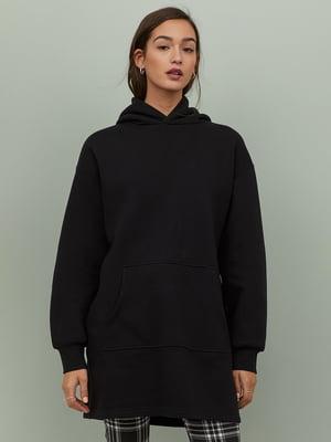 Сукня-світшот чорна з начосом | 5455273