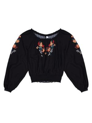 Блуза черная с вышивкой | 5324061
