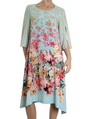 Сукня бірюзова в принт   5455429