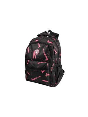 Рюкзак чорний з принтом | 5456108