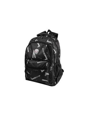 Рюкзак чорний з принтом | 5456109
