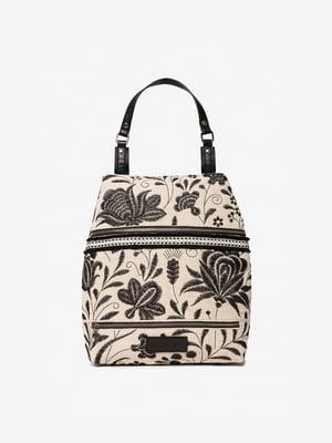 Рюкзак черно-бежевый с декором | 5455198