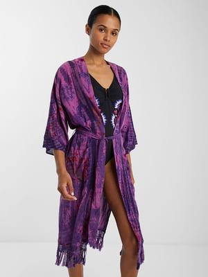 Туніка пляжна фіолетова з принтом | 5455238