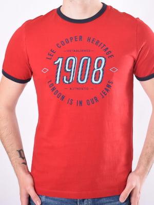Футболка червона з принтом | 5455514