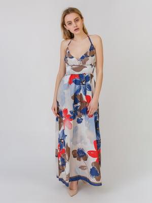 Сарафан синьо-сірий з квітковим принтом | 5452119