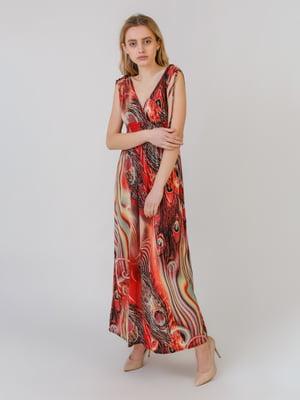 Платье оранжево-красное с принтом | 5452080