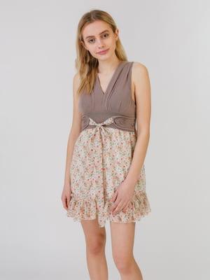 Сукня коричнево-бежева в принт | 5452070