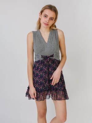 Сукня сіро-синя в принт | 5452072