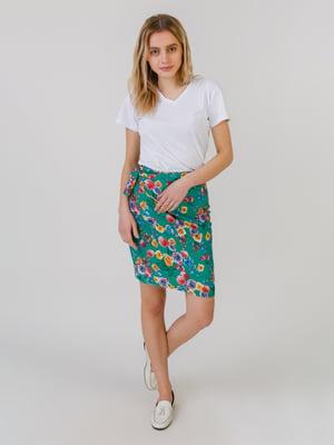 Спідниця зеленого кольору з квітковим принтом | 5452060