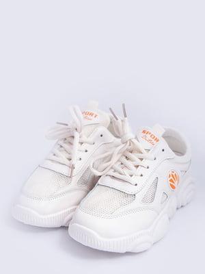 Кросівки молочного кольору з логотипом | 5456565