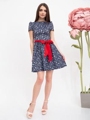 Сукня сіро-синя з квітковим малюнком | 5456596