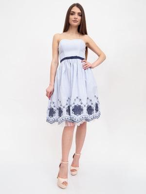 Платье бело-голубое в полоску и с рисунком | 5456601