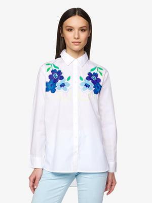 Рубашка белая с декором | 5456502