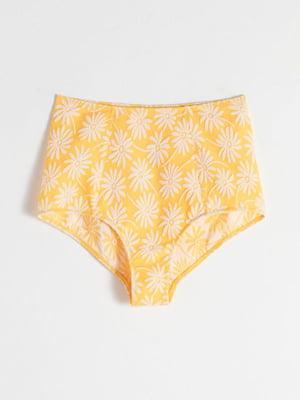 Трусы купальные желтые в принт | 5389486
