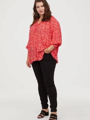 Блуза красная в цветочный принт   5402197
