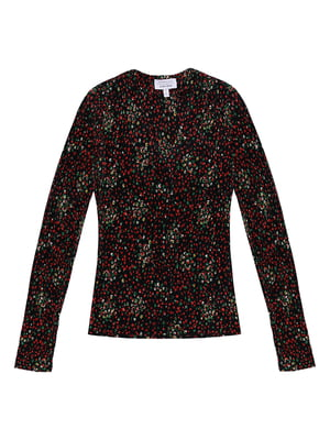 Блуза черная в принт | 5450314