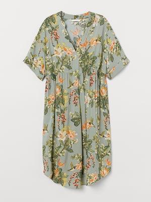 Платье для беременных серо-зеленое в принт | 5450654
