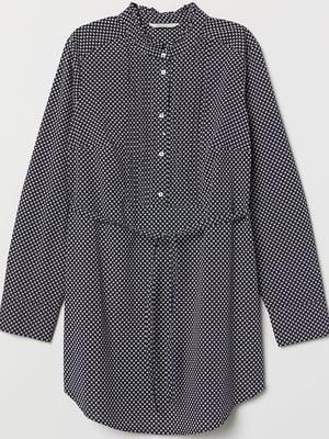 Рубашка для беременных синяя в принт | 5450670
