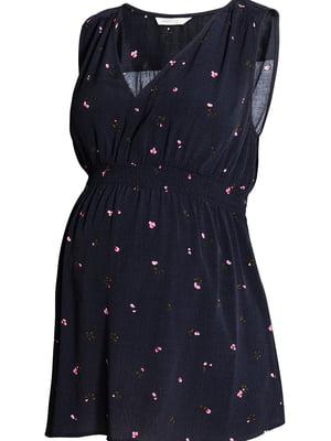 Блуза для беременных темно-синяя с цветочным принтом | 5450675