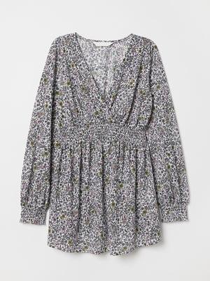 Блуза для беременных белая в цветочный принт | 5457340