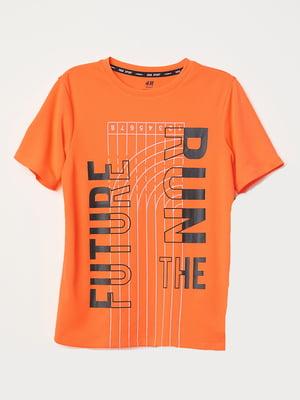Футболка оранжевая с принтом   5435304