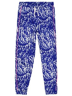 Штани синьо-білі з принтом | 5446872