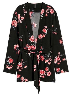 Жакет чорний в квітковий принт | 5450073
