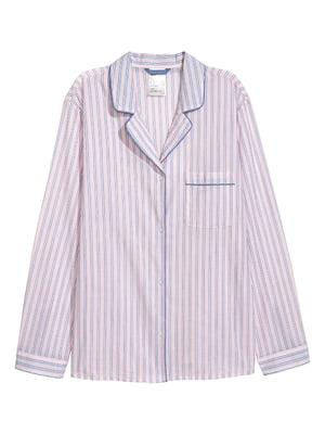Рубашка розового цвета в полоску пижамная | 5456779