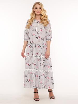 Сукня бузкова в квітковий принт   5460173