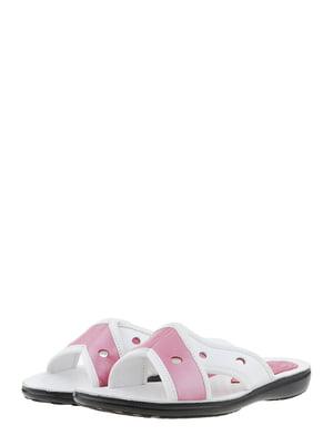 Шльопанці біло-рожеві | 5444239