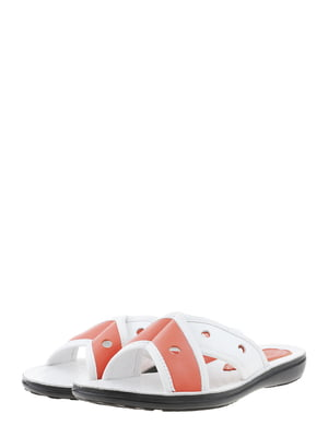 Шльопанці біло-коралового кольору | 5444240