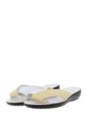 Шлепанцы бело-желтые | 5444257