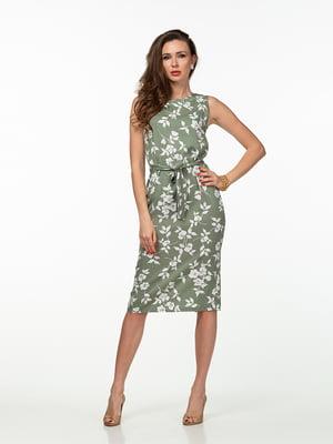 Платье зеленое в цветочный принт | 5461930