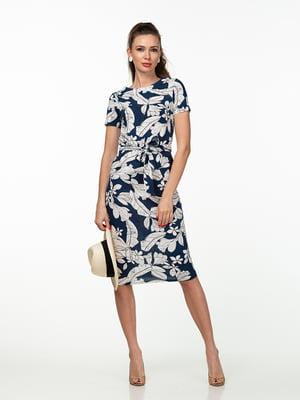 Сукня синя в рослинний принт   5461945