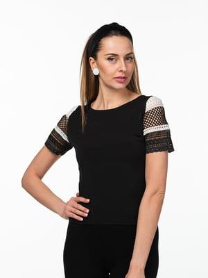 Блуза черно-белая с макраме | 5461972