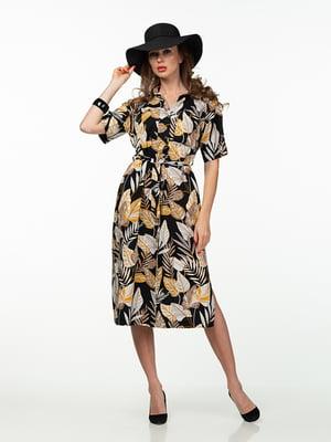 Платье черное в растительный принт | 5461974