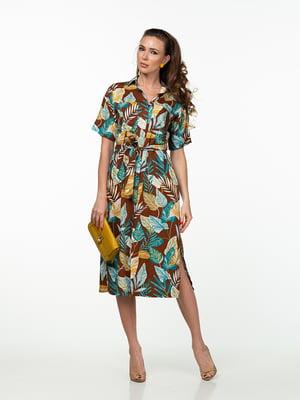 Платье коричневое в растительный принт | 5461976
