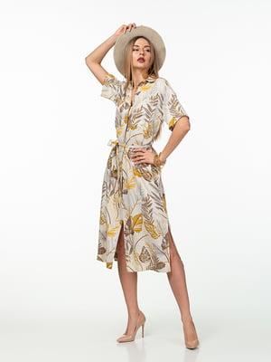 Платье молочного цвета в растительный принт | 5461979
