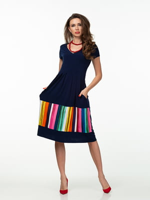 Сукня синя в яскраву смугу | 5461991