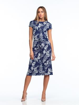 Сукня синя в рослинний принт   5461996