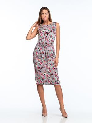 Сукня сіра в квітковий принт | 5461997