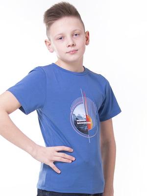 Футболка темно-синя з принтом   5462115