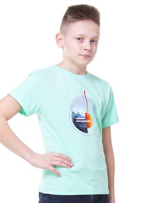 Футболка бірюзового кольору з принтом   5462116