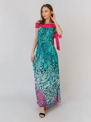 Платье зеленое в принт | 5461101