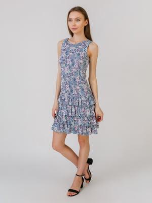 Платье бирюзового цвета в принт | 5461116