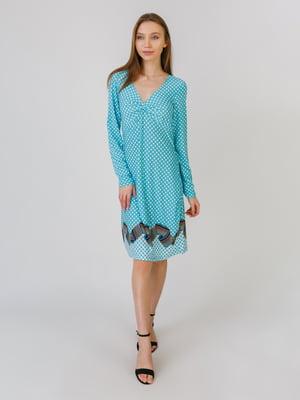 Сукня м'ятного кольору з принтом | 5461117