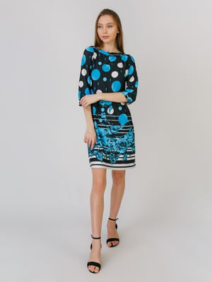 Сукня блакитна в принт | 5461120