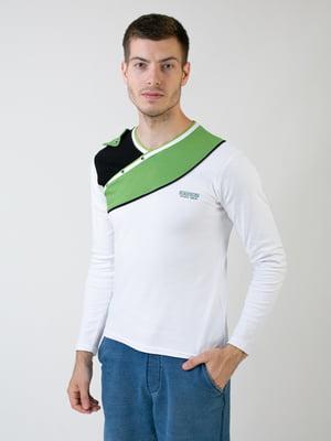 Джемпер бело-зеленый с декором | 5374134