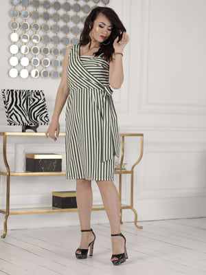 Сукня кольору хакі в смужку | 5464174