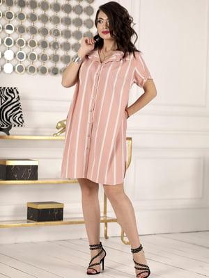 Сукня пудрового кольору в смужку | 5464180
